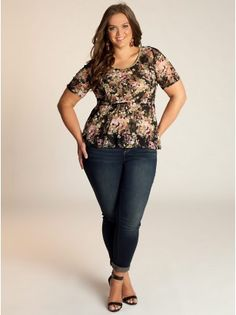 Florence Peplum Plus Size Top in Black/Olive - Plus Size Intro to Fall by IGIGI