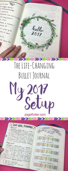 to Create Your Best Year Ever: My 2017 Bullet Journal The life-changing bullet journal pages that help me start the New Year the right way!The life-changing bullet journal pages that help me start the New Year the right way! Planner Bullet Journal, Bullet Journal Layout, My Journal, Bullet Journal Inspiration, Journal Pages, Bullet Journals, Bullet Journal Beginning, Bullet Journal Front Page, Bullet Journal Yearly Spread