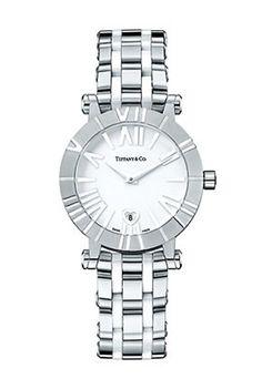 Швейцарские часы Tiffany & Co Atlas 26860172 - женские наручные часы - белые, стальные с платиновым браслетом