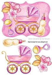 painted baby girls pram with bottle and rattle A5 on Craftsuprint - View Now!