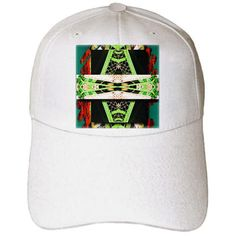 3dRose - Jos Fauxtographee Abstract - Green, Orange and White With Layering and Webbing From a Net - Caps