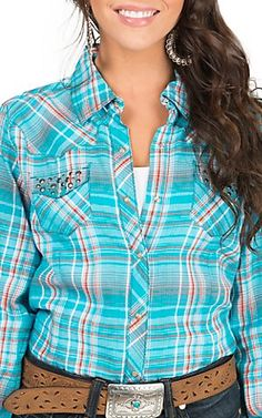 Ariat Women's Ellsworth Turquoise, Orange and White Plaid with Studded Cross Western Shirt
