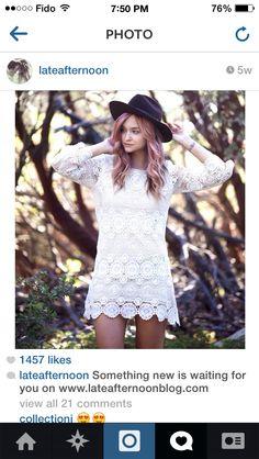Retro lace/crochet long-sleeved dress & floppy hat