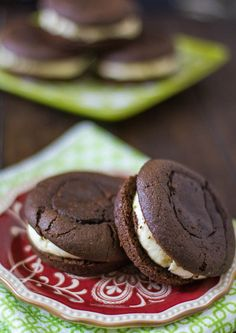 Chocolate Whoopie Pies With Baileys Butter Cream - perfect for that sweet tooth or St. Patty's day.