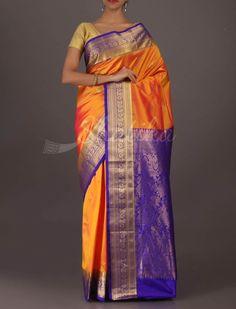 Saraswati Rust-O-Blue Goodlooking Bangalore Wedding Silk Saree