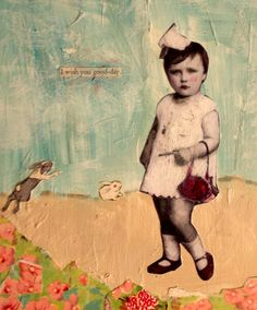 painting vintage child with bunnies mixed media portrait  on wood by MaudstarrArt