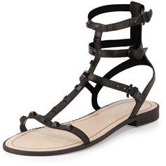 Rebecca Minkoff Georgina Studded Gladiator Sandal ($135) ❤ liked on Polyvore featuring shoes, sandals, black, black sandals, strappy flat sandals, ankle strap flats, studded gladiator sandals and strappy gladiator sandals