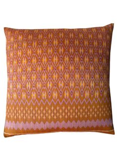 Pillow Cambodian Silk Ikat Caramel Lavender by IMPERIO jp