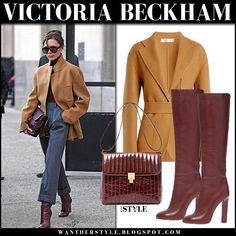 Victoria Beckham in camel jacket, grey trousers and burgundy leather boots