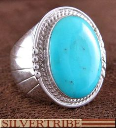 Authentic Sterling Silver And Turquoise Jewelry Ring DS55827
