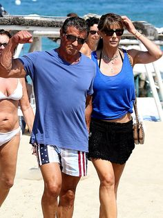 Sylvester Stallone – who will return to the ring in the upcoming Creed – treats photographers to quite the gun show while in St. Tropez with his wife Jennifer Flavin