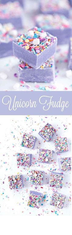 Fudge Unicorn Fudge by Sprinkles for Breakfast! Ah! Cute and delicious!Unicorn Fudge by Sprinkles for Breakfast! Ah! Cute and delicious! Fudge Recipes, Candy Recipes, Sweet Recipes, Cheesecake Recipes, Yummy Treats, Sweet Treats, Yummy Food, Fun Food, Unicorn Foods