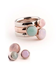 Melano twisted, ring met wisselbare steentjes
