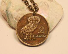 Athenian owl coin pendant, Greece 1973