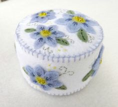 Felted Wool Pin Cushions | Wool Felt Pincushion with Blue Flowers by treasuredflorals on Etsy