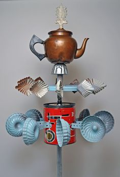 Whirligig made from repurposed teapot and kitchen items - Whirligigs! Cool! I want to make several of this fun little things.