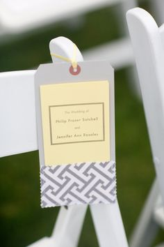 Programs were hung individually on the ceremony chairs. See this pin for the full effect:  http://pinterest.com/pin/91620173639435195 / Photography by larissacleveland.com, Floral Design by alenasdesigns.com