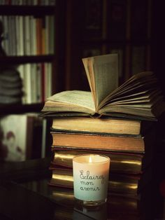 Vieux livres Candle Jars, Candles, Books, Old Books, Reading, Love, Libros, Book, Candy