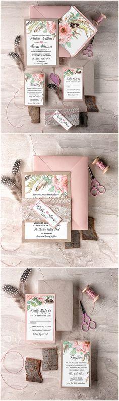 Blush Lace Wedding Invitation, Boho Wedding Invitations, Romantic Wedding Invites, Wedding Invitation Suite