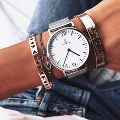 Sleek in silver: this silver watch will wow you with its combination of a classic white dial and chic silver mesh strap. Shop now! Girls Accessories, Sunglasses Accessories, Jewelry Accessories, Olivia Palermo, Kapten & Son, Bracelet Watch, Watches For Men, Jewelery, Fashion Jewelry