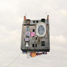 laurent chéhère's airborne architecture series sees french houses fly