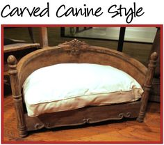 Dog Beds Just the back and seat of an old chair. Luxury Dog House, Pet Beds, Doggie Beds, Animal Room, Wood Dog, Pet Furniture, Pet Life, Dog Houses, Dog Accessories