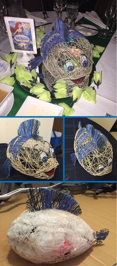 Unique Disney Wedding Centerpieces. DIY Disney characters made out of string. The Little Mermaid table with Flounder happily greeting the guests! Could also be great for Disney themed birthday. Made by @JacquelineFoss
