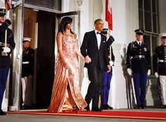 Michelle Obama's Stunning Atelier Versace Dress Marks a New Style Era for First Ladies | E! News