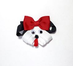 Puppy Hair Clip Puppy Ribbon Sculpture by CraftinistasBoutique