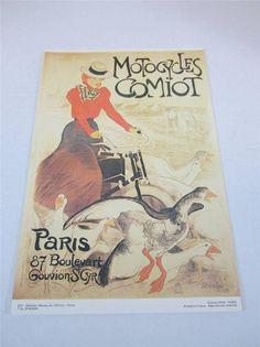 "Motocycles Comiot Poster 13.5"" x 9"" Reproduction Paris France #912 Steinlen"