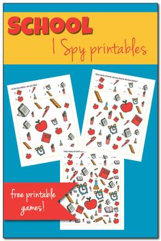 Our school year begins in less than one month. My School I Spy game is a fun way to help kids get used to the idea of being back at school. Autumn Activities For Kids, Printable Activities For Kids, Kids Learning Activities, Free Printables, September Activities, Preschool Ideas, Art Activities, School Worksheets, Worksheets For Kids