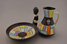 Vintage Keramik Set (1 Vase und 1 Schale) / Jasba | West German Pottery | 60er von ShabbRockRepublic auf Etsy