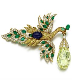 Previously owned by the opera singer and jewellery connoisseur Ganna Walska, Van Cleef & Arpels; Walska Briolette Diamond; brooch realised US$10,555,778 at Sotheby, Geneva sale of Magnificent Jewels in November 2013, a world record for the highest price paid for a Van Cleef & Arpels jewel.
