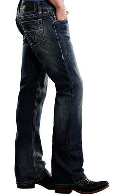 87c1e029 Rock & Roll Cowboy Men's 28 x 32 Pistol Slim Fit Boot Cut Jeans with