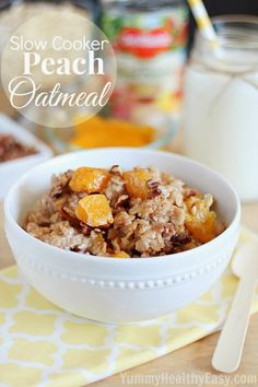 Healthy oatmeal cooked right in the slow cooker with peaches, pecans and cinnamon.