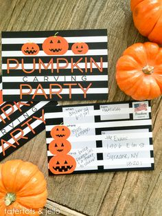 Try this awesome free printable for YOUR Halloween pumpkin carving party!