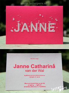 letterpers_letterpress_geboortekaartje_Janne_roze_fluor_neon_gevouwen_vogeltjes