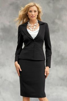 Chadwicks Shape Benefits Two-Piece Skirt Suit- Looks good on any size woman and modest while being attractive. I'd love this in red too.