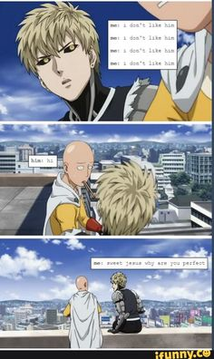 I don't shipp, but is so funny One Punch Man Funny, One Punch Man Manga, One Punch Man Episodes, Genos X Saitama, Saitama One Punch Man, Naruto, Watch One, Male Cosplay, My Escape