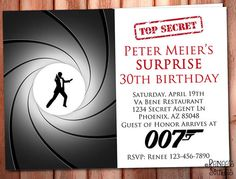 SPY / James Bond 007 Printable INVITATION, for SURPRISE Birthday or Bachelor parties.