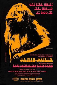 Hippie Posters, Rock Posters, Band Posters, Music Posters, Vintage Concert Posters, Vintage Posters, Madison Square Garden Concert, Paul Butterfield, Janis Joplin
