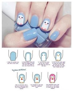Cute penguin nail art
