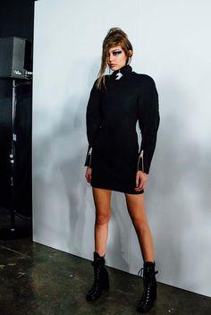 Gigi Hadid backstage at the Versus Versace Fashion show during London Fashion Week
