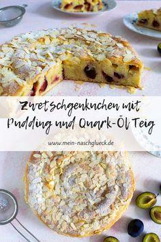 Rezept für einen einfachen und schnellen Zwetschgenkuchen mit selbstgemachtem Vanillepudding und saftigem Quark-Öl Teig