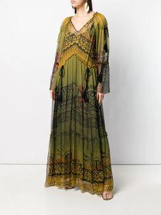 Baggy Dresses, Lela Rose, Chiffon Maxi Dress, Green Silk, Alberta Ferretti, Drawstring Waist, Green Dress, Women Wear, Delivery