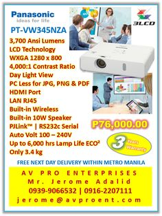 Panasonic PT-LW345NZA Portable Business, Corporate and Education Projector   #PanasonicPTLW345NZA @PanasonicPTLW345NZA #PTLW345NZA @PTLW345NZA
