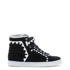 06f87e65bc054 Bold black suede high top with woven detail. Embellished with white zig-zag  details and finished with a chunky white sole.
