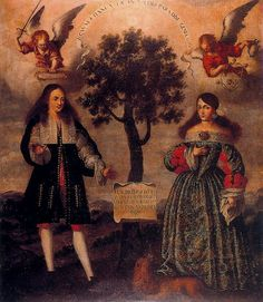 "A lady and a gentleman by a ""tree of Life"" 17th Century Spanish school (Sevilla)"