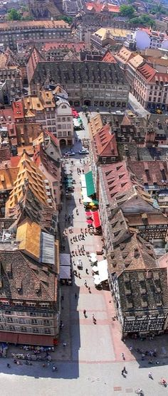 Aerial View of Strasbourg, France. Now only two hours from Paris on SNCF Places To Travel, Places To See, Places Around The World, Around The Worlds, Rhine River Cruise, Belle France, Destinations, Thinking Day, France Travel