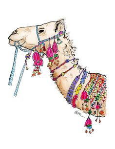 Fancy Camel  Watercolor Illustration Print by KaraEndres on Etsy